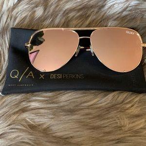 Quay x Desi High Key Gold Sunglasses
